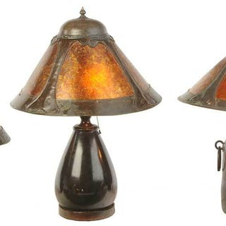 Three Arts and Crafts Copper, Bronze, Mica Lamps