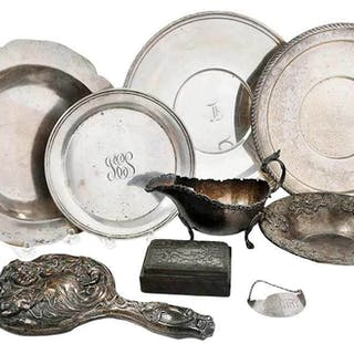 Nine Silver Table Items