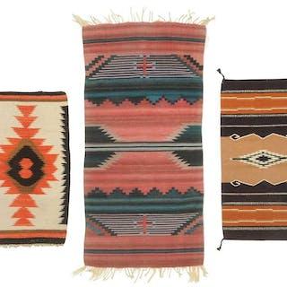 Three Southwestern Saddle Blanket Style Weavings