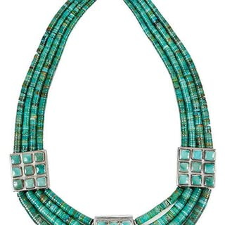 Tony Aguilar Sterling Turquoise Necklace