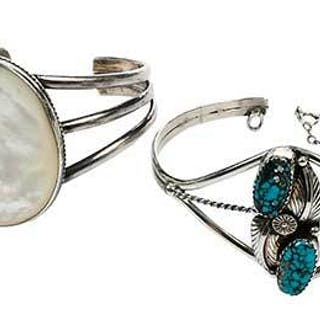 Four Southwest Silver & Gemstone Bracelets