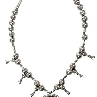 Southwest Silver Squash Blossom Necklace