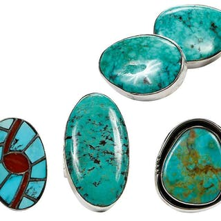 Four Pieces Sterling Silver Turquoise Jewelry