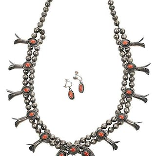 Southwest Squash Blossom Necklace & Earclips