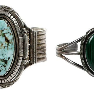 Two Southwest Silver & Gemstone Cuff Bracelets