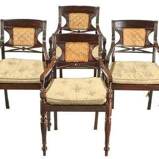 Set Six Colonial Style Classical Armchairs