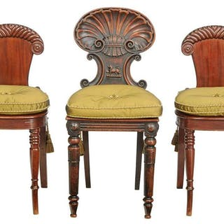 Three Georgian Carved Mahogany Hall Chairs