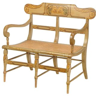 Fancy Paint Decorated Double Chairback Settee