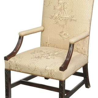Chippendale Carved Mahogany Library Chair