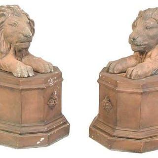 Pair Recumbent Lion Statuary on Plinths