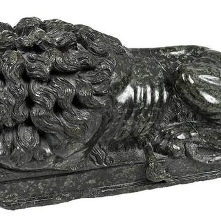 Green Marble Carved Recumbent Lion