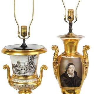 Two Vieux Paris Gilt Porcelain Urn Lamps