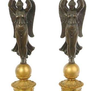 Pair Empire Style Parcel Gilt Bronze Lamps