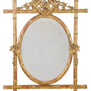 Victorian Carved Gilt Faux Bamboo Mirror