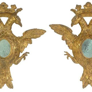Pair Neoclassical Carved and Gilt Eagle Mirrors