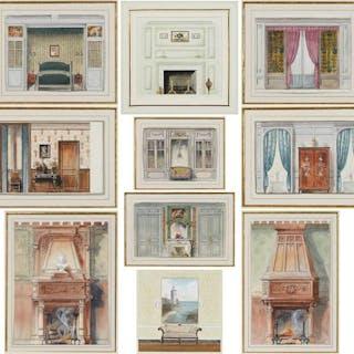 Ten Watercolor Interior Elevations