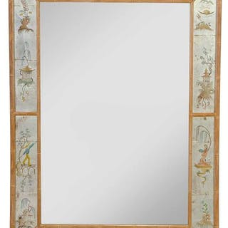 Silvered and Paint Decorated Chinoiserie Mirror