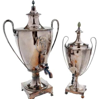 Two Silver Plate Hot Water Urns