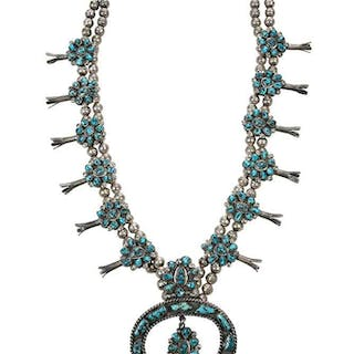 Southwest Turquoise Squash Blossom Necklace
