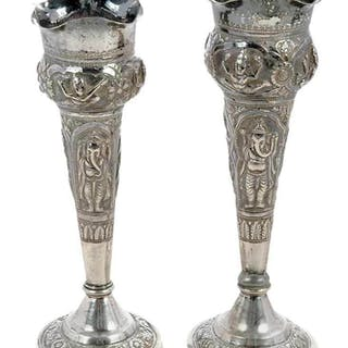 Two Small Persian Silver Vases
