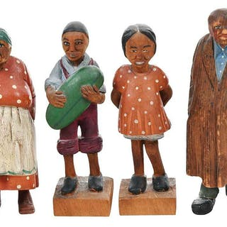 Four Tom Brown Carved and Polychrome Figures