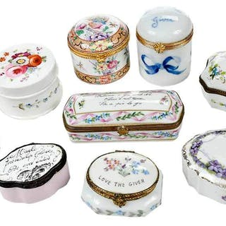 Nine Small Porcelain Ring Boxes
