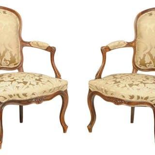 Pair Louis XV Style Walnut Fauteuils