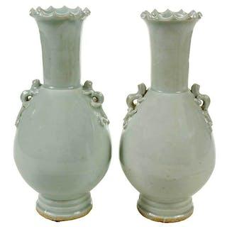 Pair Chinese Yingqing Glazed Vases