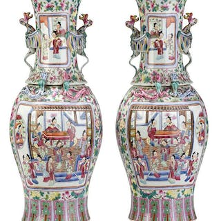 Pair Famille Rose Vases With Phoenix Handles