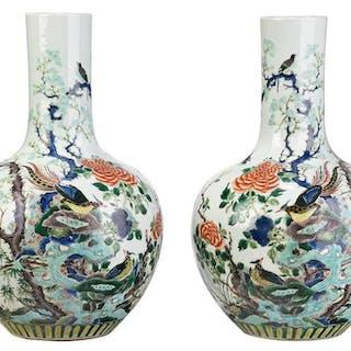 Large Pair Famille Verte Porcelain Vases