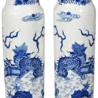 Pair Blue and White Vases with Dragons