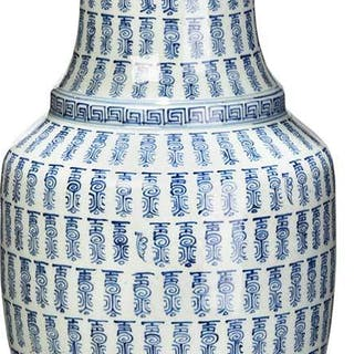 Chinese Rouleau Blue and White Vase