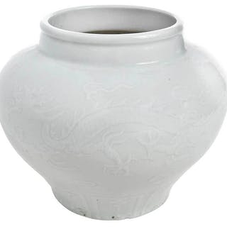 Chinese Blanc de Chine Dragon Relief Vase