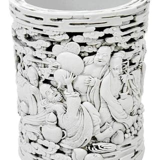 Chinese White Bis Glazed Brush Pot