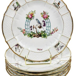 Six Hand Painted Hochst Porcelain Plates