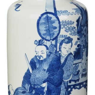 Chinese Blue and White Rouleau Porcelain Vase