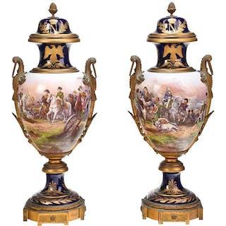 Pair Monumental Napoleonic Sevres Porcelain Urns