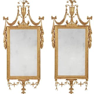 Important Pair George III Carved and Giltwood Mirrors