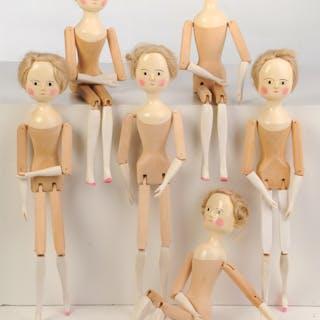 Six Fred T. Laughon Peg Wooden Dolls