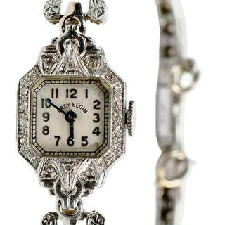 Lady Elgin Platinum & Diamond Watch