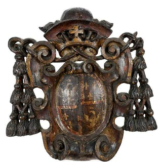 Baroque Carved and Painted Heraldic Crest