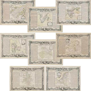 Eight De La Tour/Denos Engraved French Maps, 1766