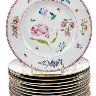 Twelve Chinese Famille Rose Plates With Insects