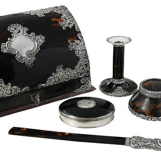 Six Piece Tortoise Shell and British Silver Desk Set