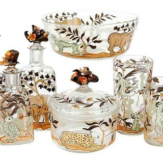 Nine Pieces Enameled and Hand Blown Glasss