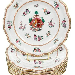 Eight Hand Painted Tiffany Service Plates