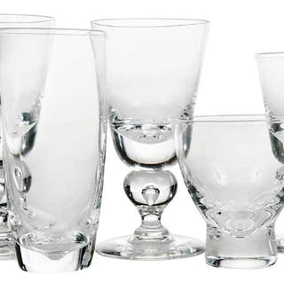 17 Steuben Glasses With Knop Tear Drop Stems