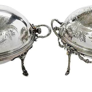 Two Silver Plate Rotating Servers