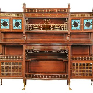 Art Nouveau Rosewood, Brass Inlaid, Stained Glass Cabinet