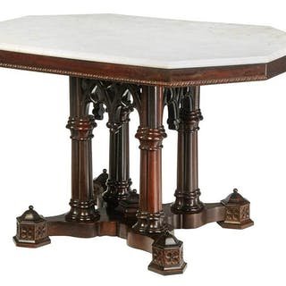 Fine Gothic Revival Rosewood Center Table